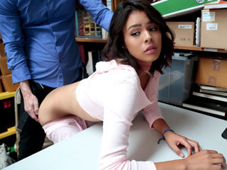 Shoplifter girl Kat gets punished by an LP officer in his office