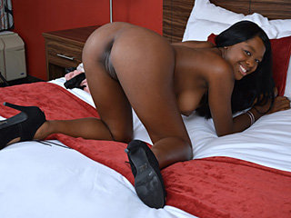 Big titted ebony girl Christie Sweet gets her shaved pussy fucked
